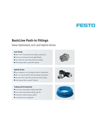 FESTO Pneumatics Basic Push In Fittings Range Catalogue