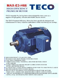 TECO Electric Motors High Efficiency Catalogue