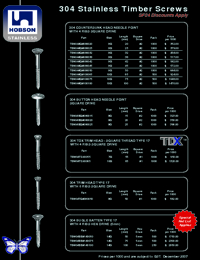 HOBSON Fasteners Stainless Steel Timber Range Brochure