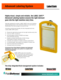 OIL SAFE Lubrication Equipment Label Safe Range Catalogue