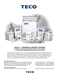TECO Electric Motors Variable Speed Drives Catalogue